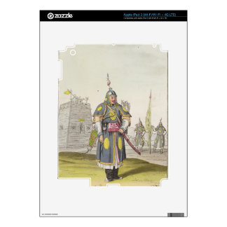 Chinese soldier in full battle dress, illustration decals for iPad 3