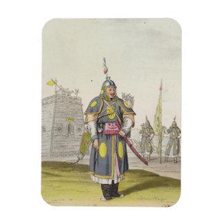 Chinese soldier in full battle dress, illustration magnet