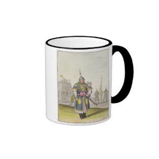 Chinese soldier in full battle dress, illustration coffee mug