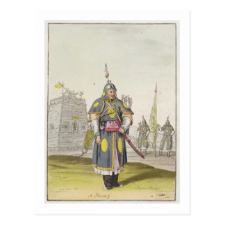 Chinese soldier in full battle dress, illustration post card