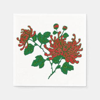 Chinese spider chrysanthemums - deep red napkin