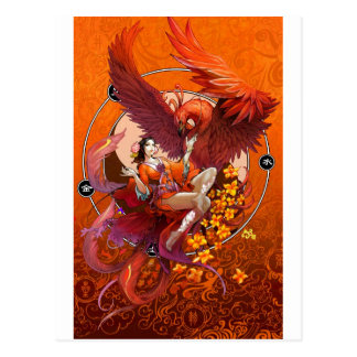 Chinese Spirit of the Phoenix w Chinese Elemental Postcard