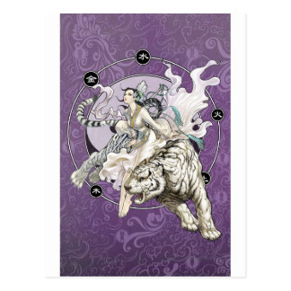 Chinese Spirit of the Tiger w Chinese Elemental Postcard