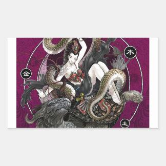 Chinese Spirit of the Turtle Snake Rectangular Sticker
