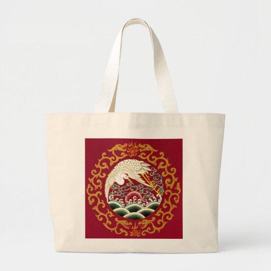 Chinese Stork & Dragon Large Tote Bag