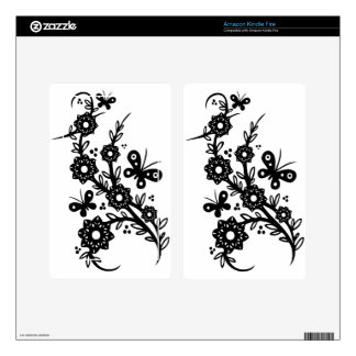 Chinese swirl floral design skin for kindle fire
