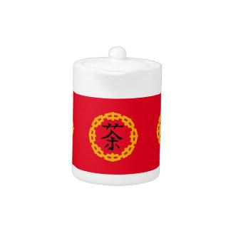 Chinese Symbol for Tea, Dragon Symbol Border Teapot