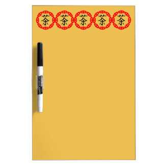 Chinese Symbol for Tea with the Red Dragon Border Dry Erase Board