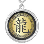 Chinese Symbol Year of the Dragon BGB Round Pendant Necklace