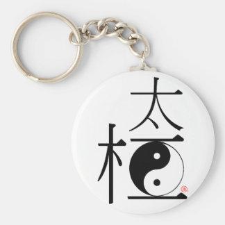 Chinese Tai Chi Ying Yang Basic Round Button Keychain
