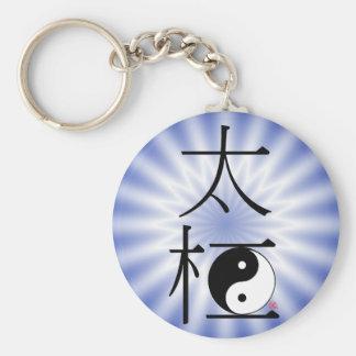 Chinese Tai Chi Ying Yang Light Basic Round Button Keychain