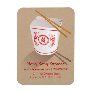 Chinese Take-Out Box brown faux craft Flexible Magnets