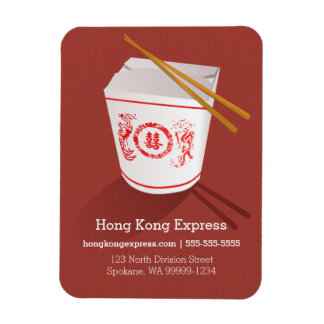 Chinese Take-Out Box rust faux laid Rectangular Photo Magnet