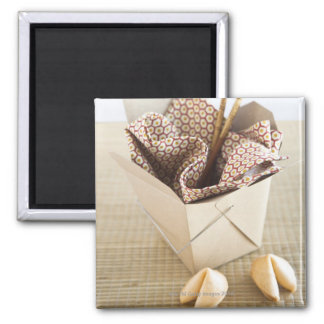 Chinese takeout container and fortune cookies 2 inch square magnet