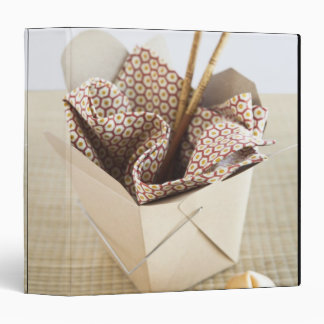 Chinese takeout container and fortune cookies 3 ring binder