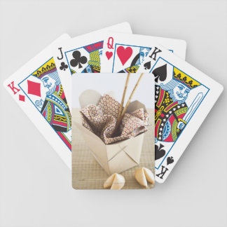 Chinese takeout container and fortune cookies bicycle playing cards