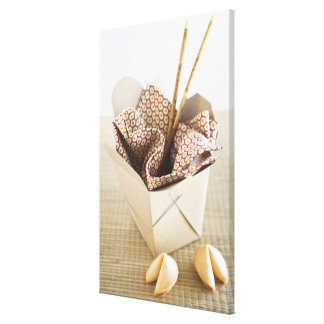 Chinese takeout container and fortune cookies canvas print