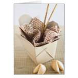 Chinese takeout container and fortune cookies card
