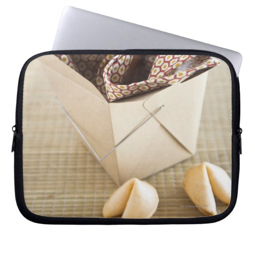 Chinese takeout container and fortune cookies laptop computer sleeve