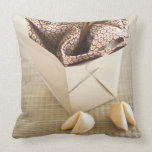 Chinese takeout container and fortune cookies pillow