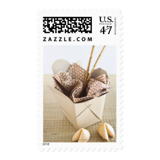 Chinese takeout container and fortune cookies postage stamp