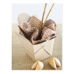 Chinese takeout container and fortune cookies postcard