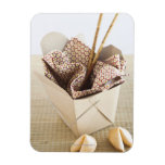 Chinese takeout container and fortune cookies rectangular photo magnet