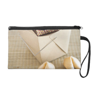 Chinese takeout container and fortune cookies wristlet purse