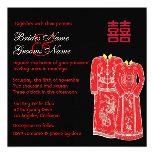 Chinese Tang Suits Double Happiness Wedding Invite