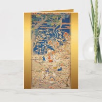Chinese Tapestry Goats Lunar New Year Birthday VGP Holiday Card
