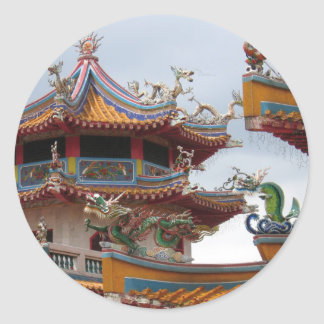 Chinese temple classic round sticker