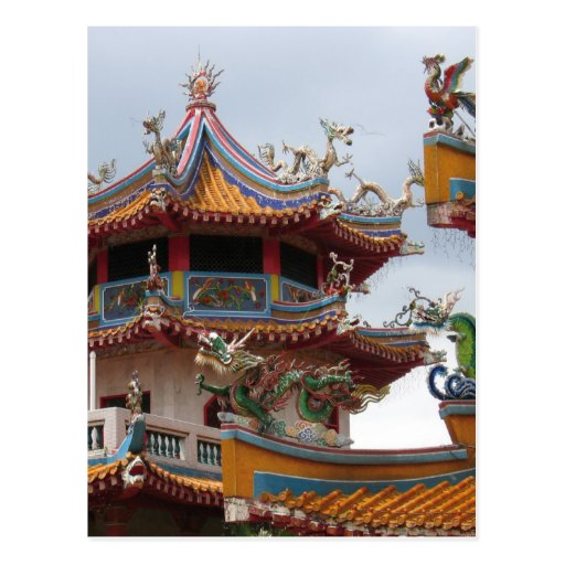 Chinese temple decoration postcards