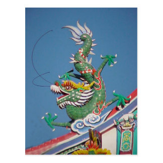 Chinese temple dragon postcard