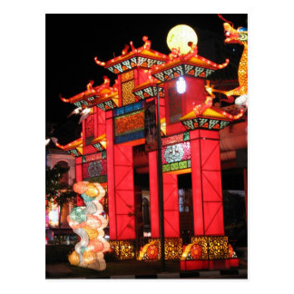 Chinese temple in Singapore at night Postcard