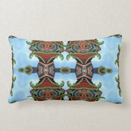Chinese Temple Kaleidoscope Pattern Throw Pillow