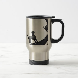 Chinese Terracotta Dogs Silhouetted On a Roof Travel Mug