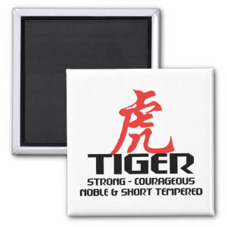 Chinese Tiger Birth Year Horoscope 2 Inch Square Magnet