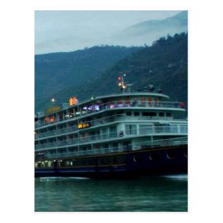 Chinese tourist boat in river Yangtz Postcard