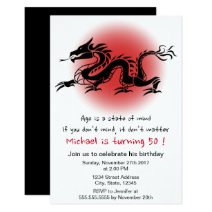 Chinese birthday invitations zazzle chinese traditional dragon mans birthday party invitation filmwisefo