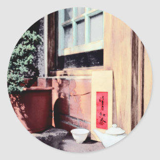 Chinese traditional house and tea set classic round sticker