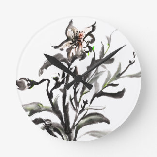 Chinese traditional ink painting flowers round clock