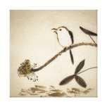 Chinese traditional ink painting with birds stretched canvas prints