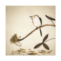 Chinese traditional ink painting with birds canvas print