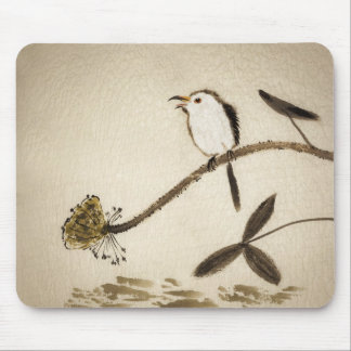 Chinese traditional ink painting with birds mousepads