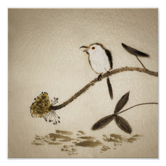 Chinese traditional ink painting with birds poster