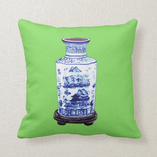CHINESE VASE ON GREEN PILLOW