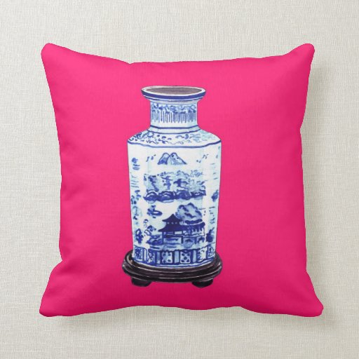 CHINESE VASE ON PINK PILLOW