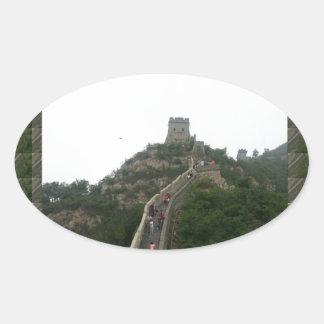 CHINESE WALL  - take a walking Vacation Oval Sticker