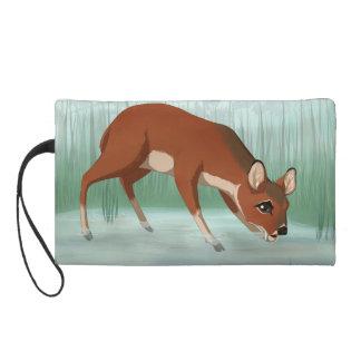 Chinese water deer wristlet clutch
