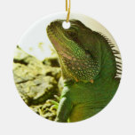 Chinese Water Dragon Double-Sided Ceramic Round Christmas Ornament